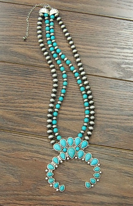 Turquoise & Silver Squash Blossom With Large Naja