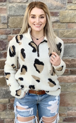 """Casually Spotted"" Ivory Fuzzy Leopard Pullover"