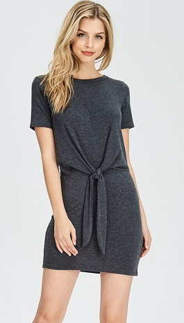 """""""Knot Me"""" Charcoal Front Tie Knot T-Shirt Dress"""