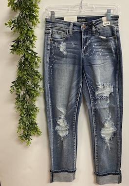 Judy Blue Light Wash Bleach Splatter Boyfriend Jeans