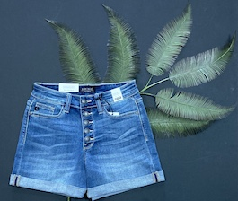 Judy Blue Medium Wash Button Fly Shorts