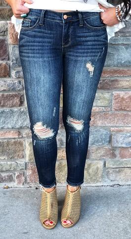 Dark Distressed Cropped Ankle Skinny Jean