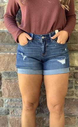 Medium Wash Slightly Distressed Boyfriend Shorts
