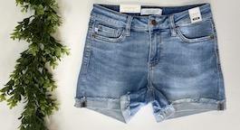 Judy Light Wash Cuffed Hem Shorts