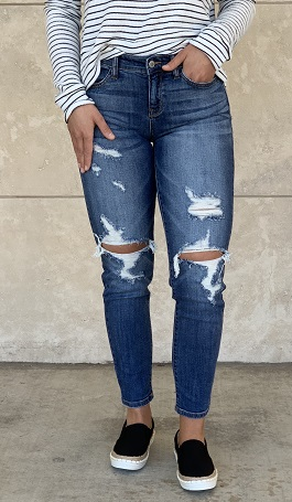 Medium Wash Mid Rise Distressed Jeans