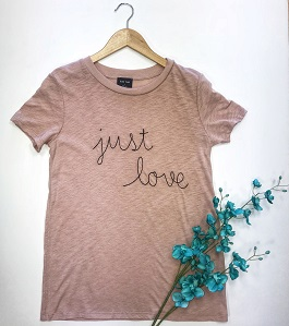 """Just Love"" Mauve Embroidered Tee"