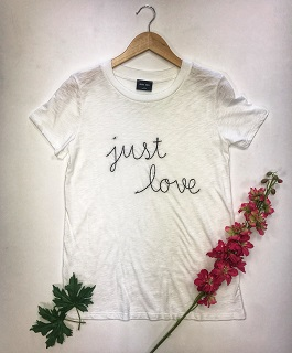 """Just Love"" White Embroidered Graphic Tee"