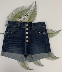 Kan Can High Rise Button Fly Shorts