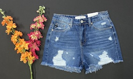 Kan Can High Waisted Distressed Shorts