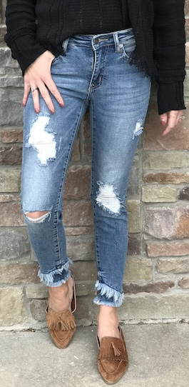 Light Wash Distressed Skinny
