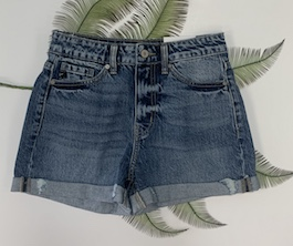 Kan Can High Rise Cuffed Denim Shorts