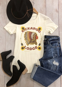 """Kickapoo Lodge"" Vintage Style Indian Head T-Shirt"
