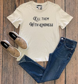 """Kill Them With Kindness"" Cream Graphic T-Shirt"