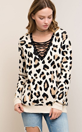 """""""Kat"""" Taupe Lace Up Leopard Sweater"""