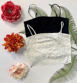 Lace Crop Tops With Removable Straps