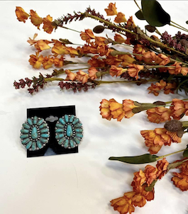 Genuine Turquoise Large Cluster Earrings