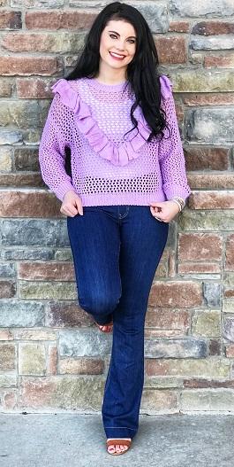 """Sweet Serenity"" Lavender V Shape Ruffle Sweater"