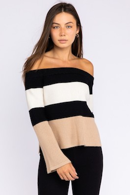 """Blaire"" Color Block Off Shoulder Sweater"