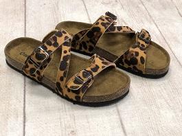 Leopard Double Buckle Sandals