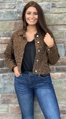 """Lady Love"" Leopard Button Down Cropped Jacket"