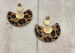 Leopard Fan Earrings With Gold Detail