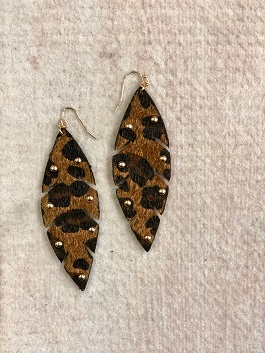 Leopard Feather Earrings With Gold Studs