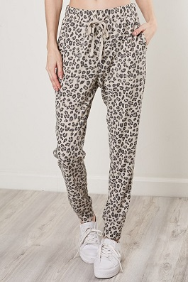 Taupe Leopard Drawstring Joggers