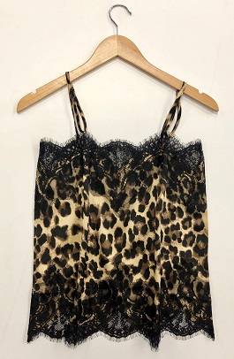 Leopard Tank With Black Lace Detail