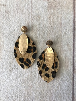 Leopard Leather Earring With Gold Detail