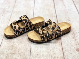 Leopard Double Buckle Sandals