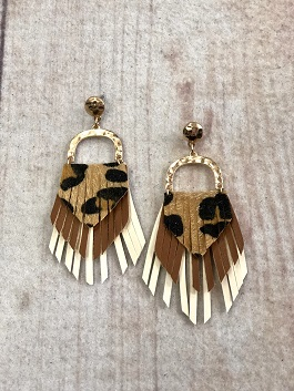 Leopard Tiered Earrings With Gold Detail