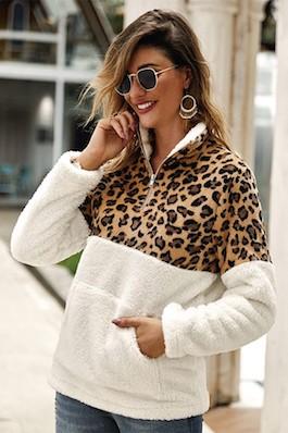 """Comfy N Cute"" Leopard/White Fleece Pullover"