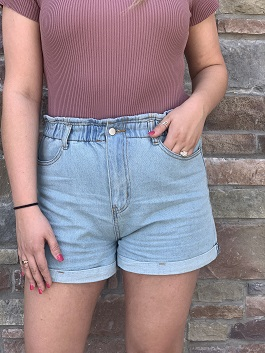 """High Riser"" Light Wash Denim Shorts"