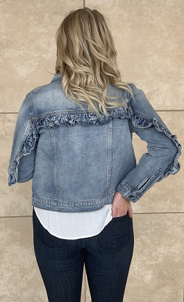"""Love Never Fades"" Ruffle Detail Light Wash Denim Jacket"