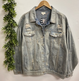 """Better With Studs"" Light Denim Wash Studded Jacket"