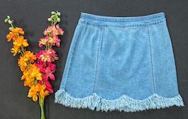 Light Wash Fringed Detail Skirt