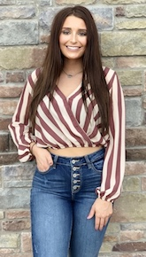 """Lindi"" Brick Striped V-Neck Top"