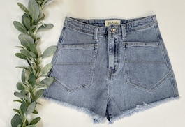Light Washed High Waisted Pocket Detail Shorts