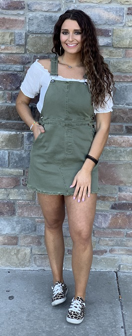 """Work & Play""Distressed Olive Overall Dress"