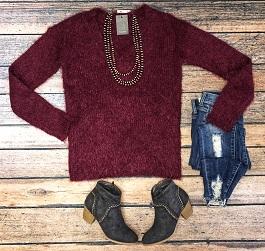 """""""Taylor"""" Burgundy Fuzzy Soft  Sweater"""