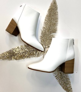 White Heeled Leather Like Bootie
