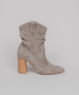 Grey Suede Heeled Boot