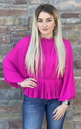 """""""So Glam"""" Magenta Pleated Woven Top"""