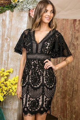 """Gracefully Yours"" Black Kimono Sleeve Open Back Dress"