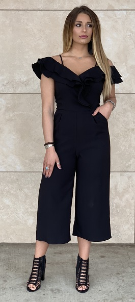 """Flatter Me"" Black Ruffle Cropped Pant Jumpsuit"