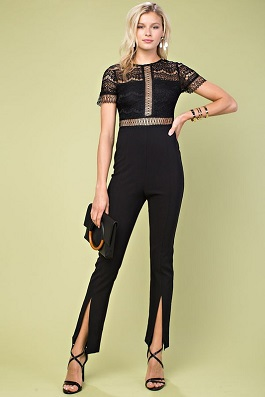 """Date Night""Lace Leg Slit Jumper"