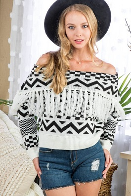 """Retro West"" Black & White Off Shoulder Fringe Sweater"