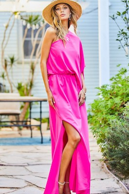 """""""Luxe Life"""" Hot Pink Unbalanced One Shoulder Maxi Dress"""