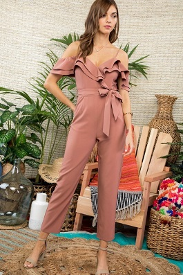 """I'm The One"" Red Brown Ruffle Tie Waist Jumpsuit"