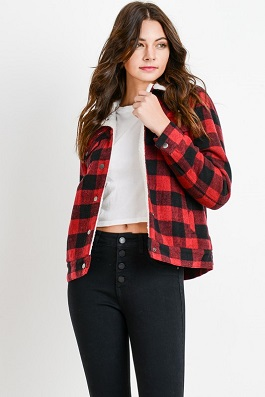 """Marlboro"" Red Plaid Fleece Lined Jacket"